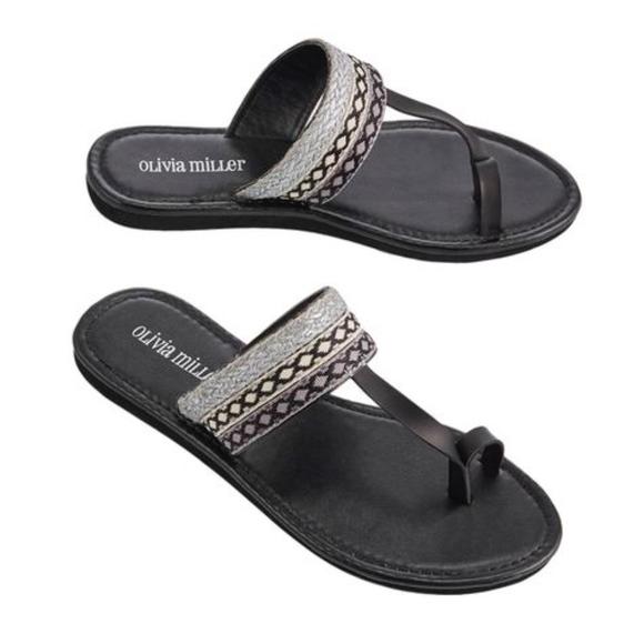 23d7051d729a Olivia Miller Womens Toe Strap Striped Sandals
